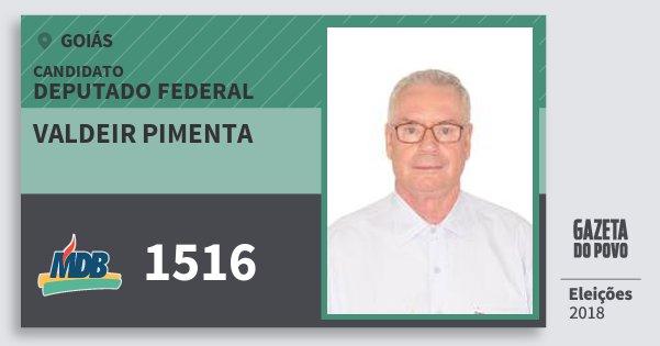 Santinho Valdeir Pimenta 1516 (MDB) Deputado Federal | Goiás | Eleições 2018