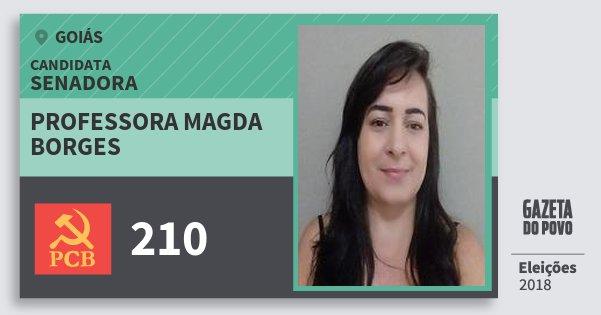 Santinho Professora Magda Borges 210 (PCB) Senadora | Goiás | Eleições 2018