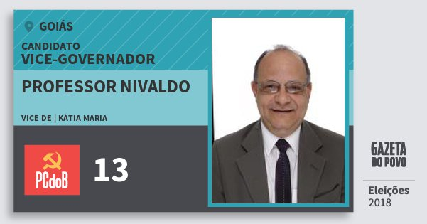 Santinho Professor Nivaldo 13 (PC do B) Vice-governador | Goiás | Eleições 2018
