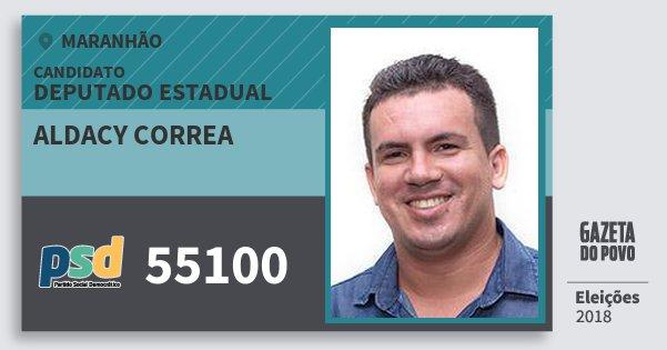 Santinho Aldacy Correa 55100 (PSD) Deputado Estadual | Maranhão | Eleições 2018