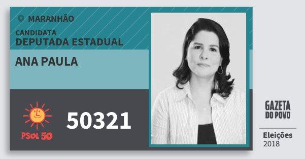 Santinho Ana Paula 50321 (PSOL) Deputada Estadual   Maranhão   Eleições 2018