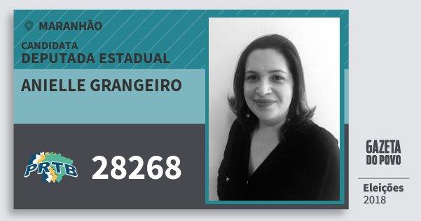 Santinho Anielle Grangeiro 28268 (PRTB) Deputada Estadual | Maranhão | Eleições 2018