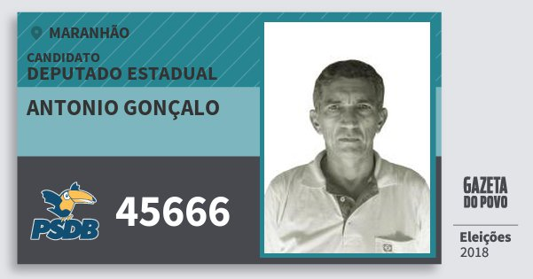 Santinho Antonio Gonçalo 45666 (PSDB) Deputado Estadual | Maranhão | Eleições 2018