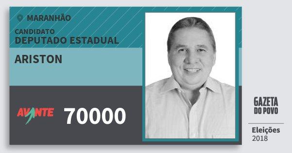Santinho Ariston 70000 (AVANTE) Deputado Estadual | Maranhão | Eleições 2018