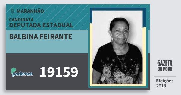 Santinho Balbina Feirante 19159 (PODE) Deputada Estadual | Maranhão | Eleições 2018