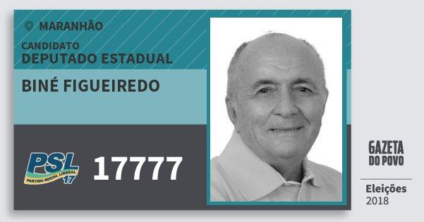 Santinho Biné Figueiredo 17777 (PSL) Deputado Estadual | Maranhão | Eleições 2018