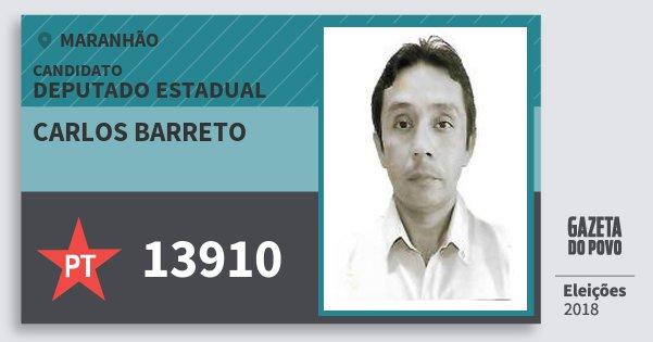 Santinho Carlos Barreto 13910 (PT) Deputado Estadual   Maranhão   Eleições 2018