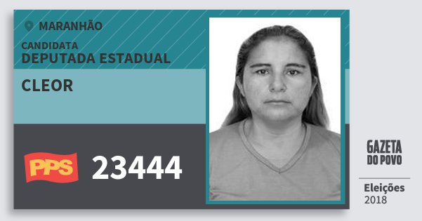 Santinho Cleor 23444 (PPS) Deputada Estadual   Maranhão   Eleições 2018