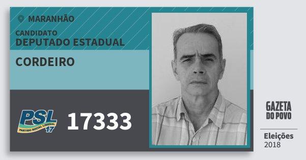 Santinho Cordeiro 17333 (PSL) Deputado Estadual | Maranhão | Eleições 2018