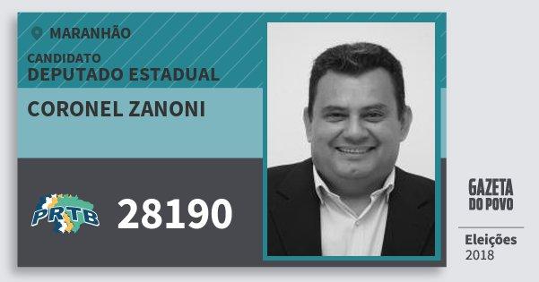Santinho Coronel Zanoni 28190 (PRTB) Deputado Estadual | Maranhão | Eleições 2018