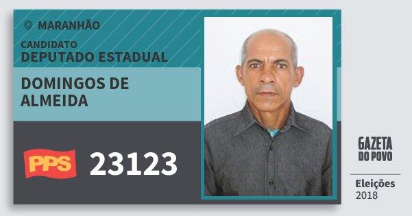 Santinho Domingos de Almeida 23123 (PPS) Deputado Estadual | Maranhão | Eleições 2018