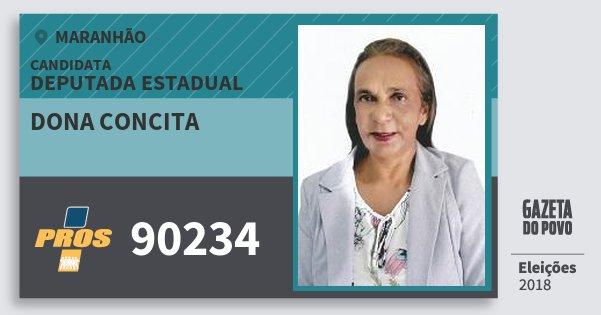 Santinho Dona Concita 90234 (PROS) Deputada Estadual | Maranhão | Eleições 2018