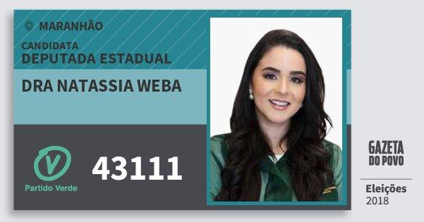 Santinho Dra Natassia Weba 43111 (PV) Deputada Estadual | Maranhão | Eleições 2018