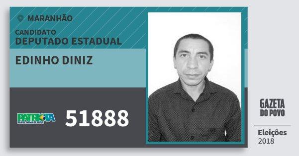 Santinho Edinho Diniz 51888 (PATRI) Deputado Estadual | Maranhão | Eleições 2018