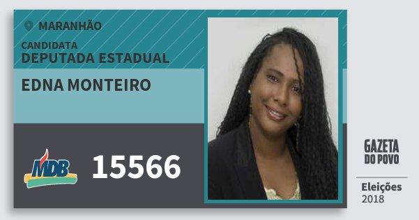 Santinho Edna Monteiro 15566 (MDB) Deputada Estadual | Maranhão | Eleições 2018