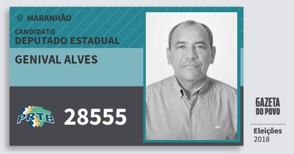 Santinho Genival Alves 28555 (PRTB) Deputado Estadual | Maranhão | Eleições 2018
