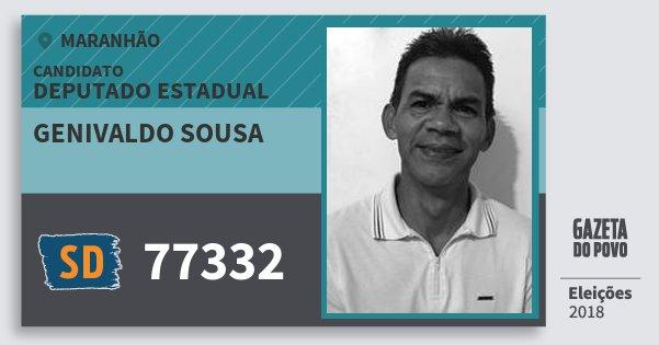 Santinho Genivaldo Sousa 77332 (SOLIDARIEDADE) Deputado Estadual | Maranhão | Eleições 2018