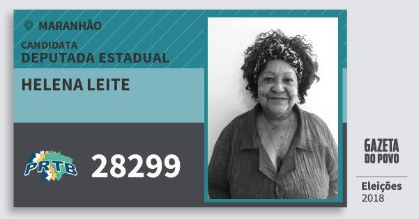 Santinho Helena Leite 28299 (PRTB) Deputada Estadual | Maranhão | Eleições 2018
