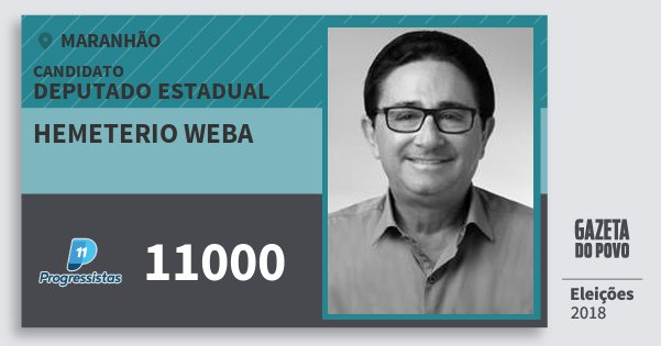 Santinho Hemeterio Weba 11000 (PP) Deputado Estadual   Maranhão   Eleições 2018