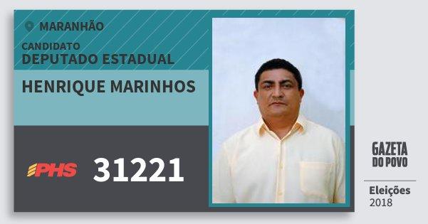 Santinho Henrique Marinhos 31221 (PHS) Deputado Estadual | Maranhão | Eleições 2018
