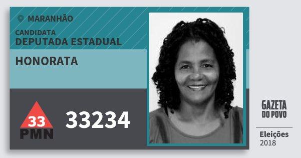 Santinho Honorata 33234 (PMN) Deputada Estadual | Maranhão | Eleições 2018