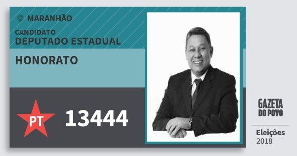 Santinho Honorato 13444 (PT) Deputado Estadual | Maranhão | Eleições 2018