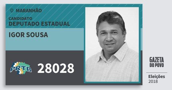 Santinho Igor Sousa 28028 (PRTB) Deputado Estadual | Maranhão | Eleições 2018