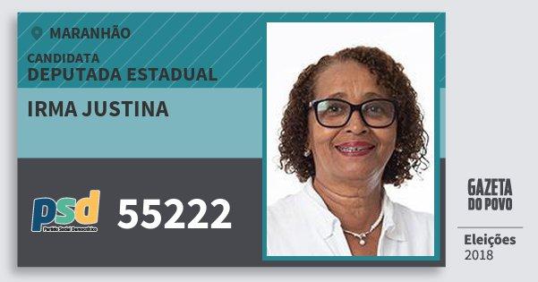 Santinho Irma Justina 55222 (PSD) Deputada Estadual   Maranhão   Eleições 2018
