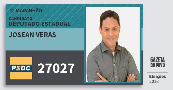 Santinho Josean Veras 27027 (DC) Deputado Estadual | Maranhão | Eleições 2018