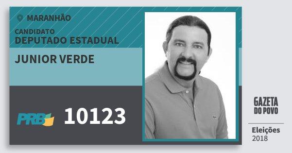 Santinho Junior Verde 10123 (PRB) Deputado Estadual | Maranhão | Eleições 2018
