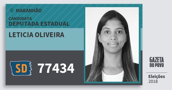 Santinho Leticia Oliveira 77434 (SOLIDARIEDADE) Deputada Estadual | Maranhão | Eleições 2018