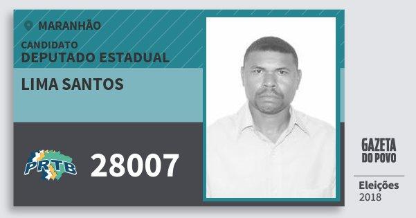 Santinho Lima Santos 28007 (PRTB) Deputado Estadual | Maranhão | Eleições 2018