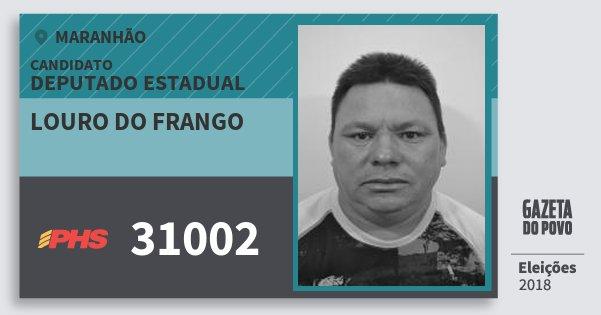 Santinho Louro do Frango 31002 (PHS) Deputado Estadual | Maranhão | Eleições 2018