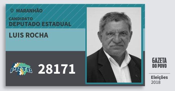 Santinho Luis Rocha 28171 (PRTB) Deputado Estadual | Maranhão | Eleições 2018