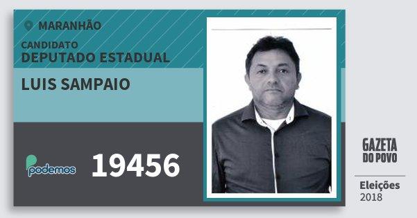 Santinho Luis Sampaio 19456 (PODE) Deputado Estadual | Maranhão | Eleições 2018