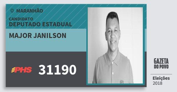Santinho Major Janilson 31190 (PHS) Deputado Estadual | Maranhão | Eleições 2018