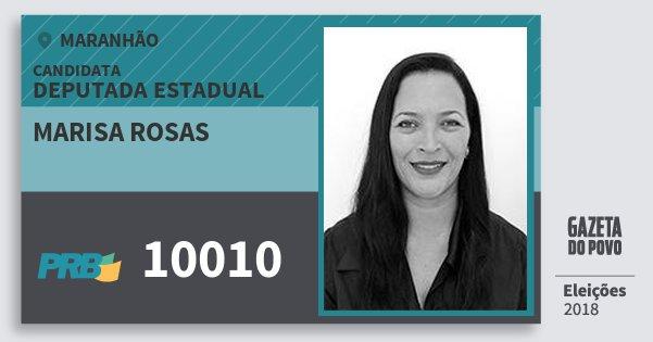 Santinho Marisa Rosas 10010 (PRB) Deputada Estadual | Maranhão | Eleições 2018