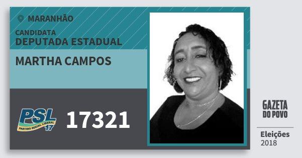Santinho Martha Campos 17321 (PSL) Deputada Estadual | Maranhão | Eleições 2018