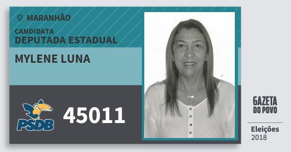 Santinho Mylene Luna 45011 (PSDB) Deputada Estadual | Maranhão | Eleições 2018