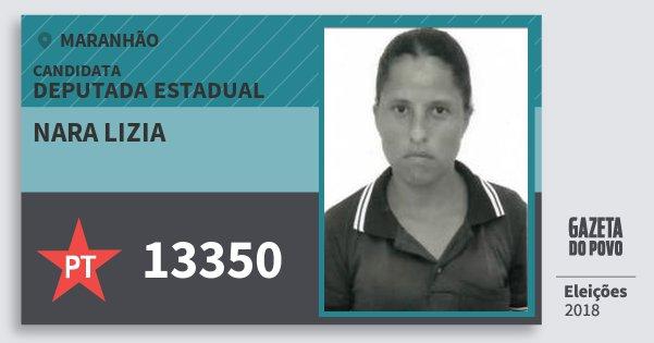 Santinho Nara Lizia 13350 (PT) Deputada Estadual | Maranhão | Eleições 2018