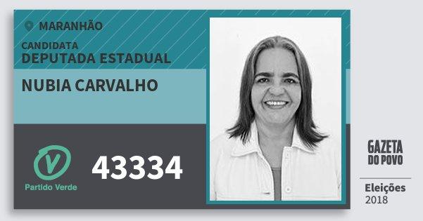 Santinho Nubia Carvalho 43334 (PV) Deputada Estadual | Maranhão | Eleições 2018