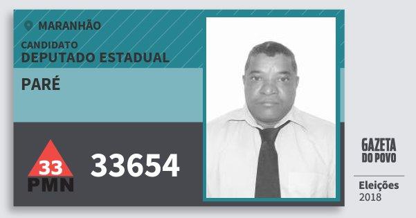 Santinho Paré 33654 (PMN) Deputado Estadual | Maranhão | Eleições 2018