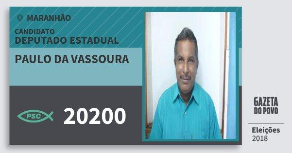 Santinho Paulo da Vassoura 20200 (PSC) Deputado Estadual   Maranhão   Eleições 2018