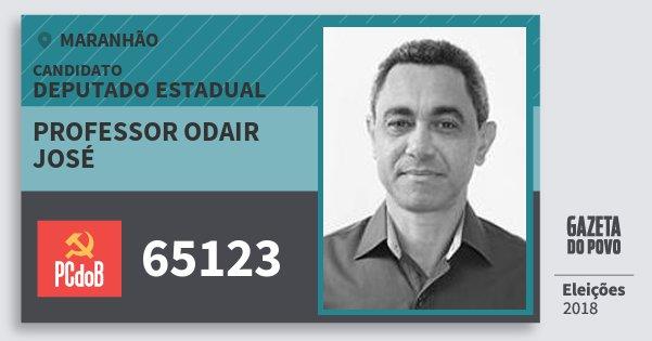 Santinho Professor Odair José 65123 (PC do B) Deputado Estadual | Maranhão | Eleições 2018