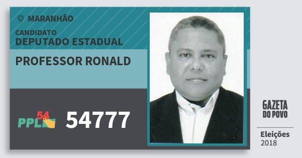 Santinho Professor Ronald 54777 (PPL) Deputado Estadual | Maranhão | Eleições 2018