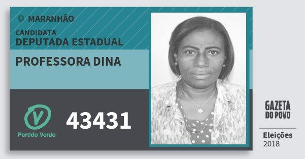Santinho Professora Dina 43431 (PV) Deputada Estadual | Maranhão | Eleições 2018