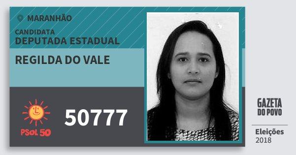 Santinho Regilda do Vale 50777 (PSOL) Deputada Estadual | Maranhão | Eleições 2018