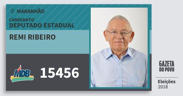 Santinho Remi Ribeiro 15456 (MDB) Deputado Estadual | Maranhão | Eleições 2018