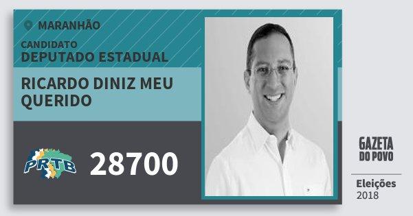 Santinho Ricardo Diniz Meu Querido 28700 (PRTB) Deputado Estadual   Maranhão   Eleições 2018