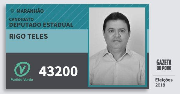 Santinho Rigo Teles 43200 (PV) Deputado Estadual | Maranhão | Eleições 2018